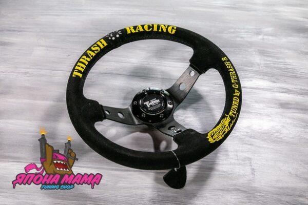 Оригинальный спортивный руль THRASH RACING черный замшевый (вынос)