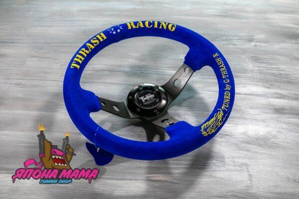 Оригинальный спортивный руль THRASH RACING синий замшевый (вынос)
