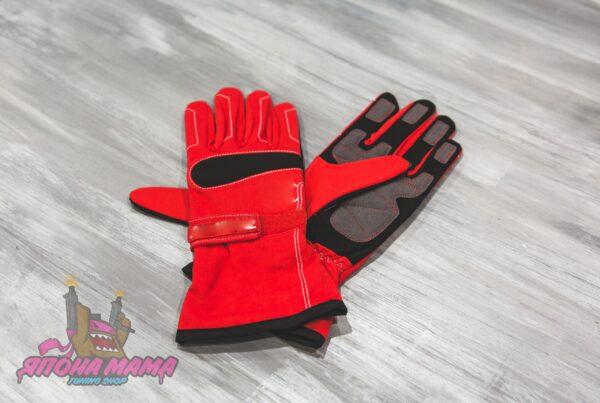Перчатки для автоспорта / картинга без FIA (красные)