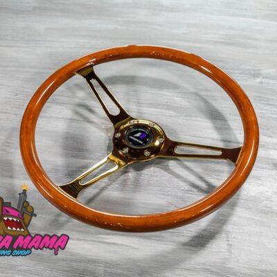 Руль оригинальный Lines Racing с золотыми спицами из настоящего дерева (380 mm.)