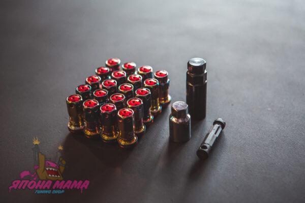 Спортивные колесные гайки-секретки Max Guard, neo chrome (красные)