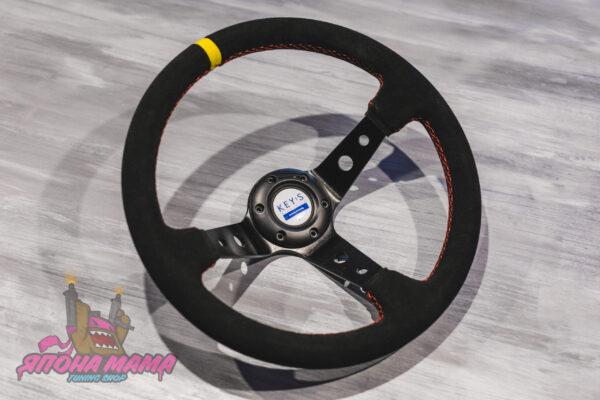 Спортивный руль KEY!S Racing замшевый (красная строчка)
