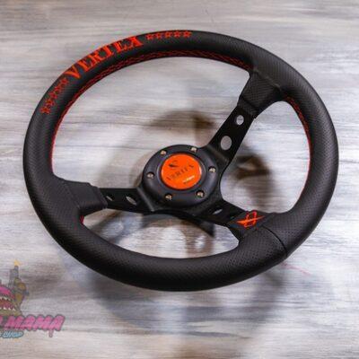 Спортивный руль Vertex красный из перфорированной кожи с черными спицами