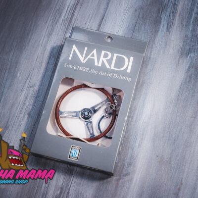 Брелок деревянный руль Nardi Classic с серебряными спицами