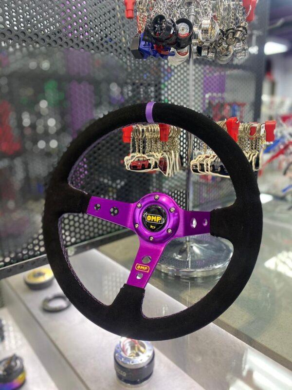 Спортивный руль OMP Corsica фиолетовый (замша)