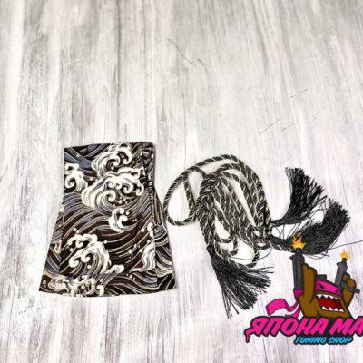 Чехол для кулисы КПП с завязкой в Японском стиле черный (волна)