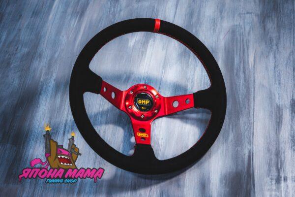 Спортивный руль OMP Corsica красный (замша)